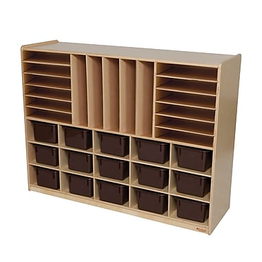 Wood Designs™ Multi-Storage With 15 Brown Trays, Birch