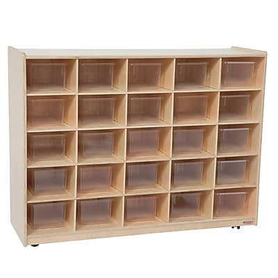 Wood Designs™ Cubby Storage Cabinet With 25 Translucent Trays, Birch