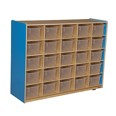 Wood Designs™ Cubby Storage Cabinet With 25 Translucent Trays, Blueberry