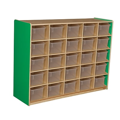 Wood Designs™ Cubby Storage Cabinet With 25 Translucent Trays, Green Apple
