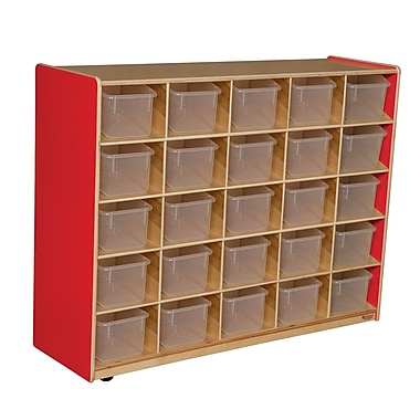 Wood Designs™ Cubby Storage Cabinet With 25 Translucent Trays, Strawberry Red