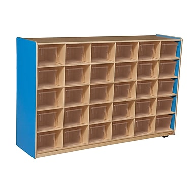 Wood Designs™ Cubby Storage Cabinet With 30 Translucent Trays, Blueberry