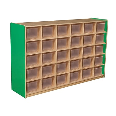 Wood Designs™ Cubby Storage Cabinet With 30 Translucent Trays, Green Apple