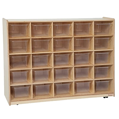 """Wood Designs™ Tip-Me-Not™ 30""""H Cubby Storage Unit With 25 Translucent Trays, Birch"""