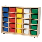 """Wood Designs™ Tip-Me-Not™ 30""""H Cubby Storage Unit With 25 Assorted Trays, Birch"""