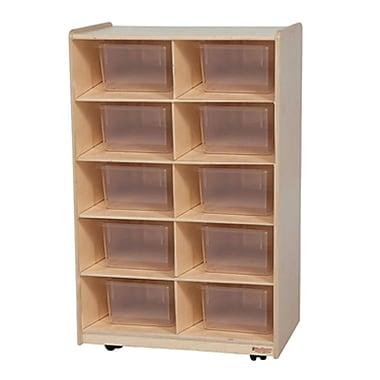 Wood Designs™ Vertical Storage With Ten Translucent Trays, Birch