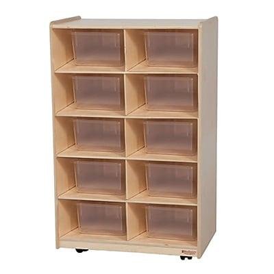 Wood Designs™ Vertical Storage With Ten Translucent Trays, Birch