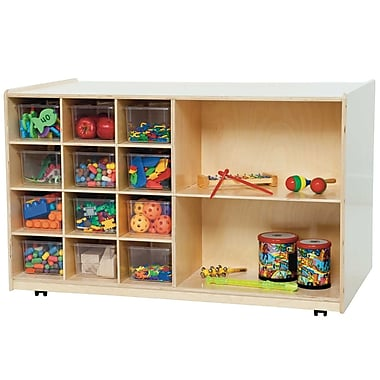 Wood Designs™ Shelving Storage With 12 Clear Trays, Birch