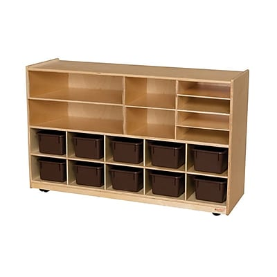 Wood Designs™ Shelving Storage With 12 Brown Trays, Birch