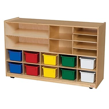 Wood Designs™ Shelving Storage With 12 Assorted Trays, Birch