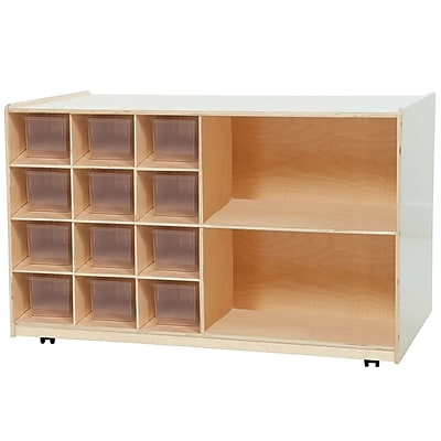 Wood Designs™ Double Mobile Storage With 12 Translucent Trays, Birch