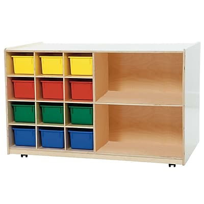 Wood Designs™ Double Mobile Storage With 12 Assorted Trays, Birch