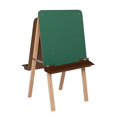 Wood Designs™ Tot Furniture Tot-Size Double Chalkboard Easel With Brown Tray, Birch/Green