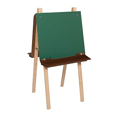 Wood Designs™ Art Double Adjustable Easel With Chalkboard and Brown Tray, Birch