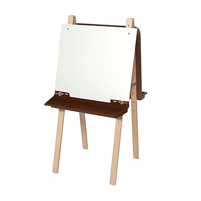 Wood Designs™ Art Double Adjustable Easel With Markerboard and Brown Tray, Birch