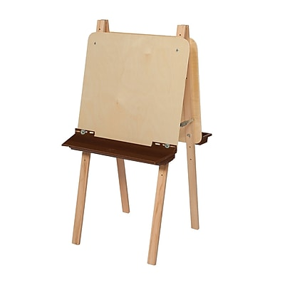 Wood Designs™ Art Double Adjustable Easel With Plywood and Brown Tray, Birch