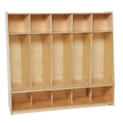 "Wood Designs™ Tip-Me-Not™ 54""W Five Seat Locker, Wood"