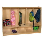 "Wood Designs™ Tip-Me-Not™ 54""W Five Section Tot Locker With Heavy Duty Swivel Casters, Natural Wood"