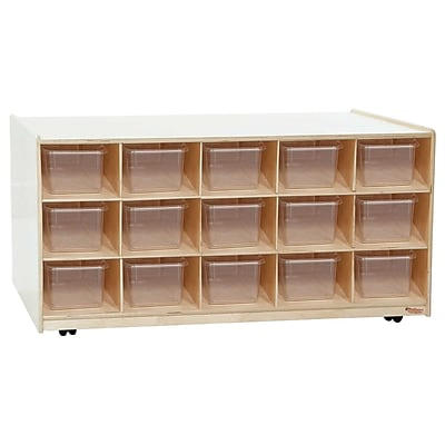 Wood Designs 30 Tray Mobile Island With Translucent Trays, Birch