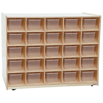 Wood Designs 25 Tray Shelves Island With 25 Translucent Trays, Birch