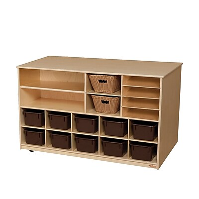 Wood Designs™ Storage Versatile Storage With 10 Brown Trays, Birch