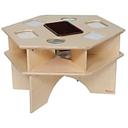 """Wood Designs™ 27"""" x 30"""" Hexagon Plywood Deluxe Science Activity Table With Brown Tub, Natural"""