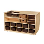 """Wood Designs™ 30""""H Mobile Storage Island With Brown Trays, Birch"""