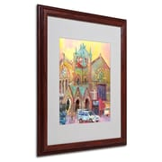 "Trademark Fine Art 20"" x 16"" Wood Frame Boston 2 Dark Wood"