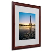 "Trademark Fine Art 16"" x 20"" Acrylic Sunrise in Paris Artwork, Wood Frame"