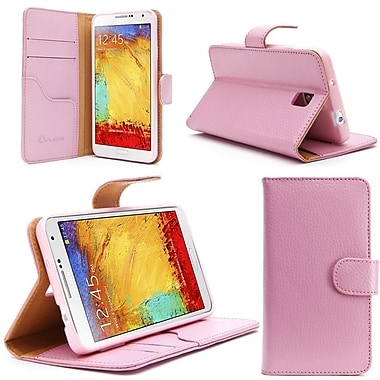 i-Blason Samsung Galaxy Note 4 Case - Slim Leather Book Wallet Cover - Pink