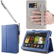 "i-Blason Slim Book Leather Case With Bonus Stylus For 7"" Amazon Kindle Fire HD 2013, Navy"