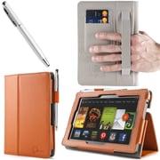 "i-Blason Slim Book Leather Case With Bonus Stylus For 7"" Amazon Kindle Fire HD 2013, Orange"