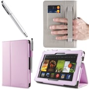 "i-Blason Slim Book Leather Case With Bonus Stylus For 7"" Amazon Kindle Fire HD 2013, Pink"