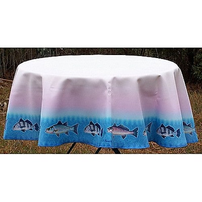 Betsy Drake Interiors Assorted Fish Round Tablecloth; 68'' W Round