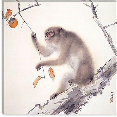 iCanvas ''Monkey'' by Hashimoto Kansetsu Painting Print on Canvas; 26'' H x 26'' W x 0.75'' D