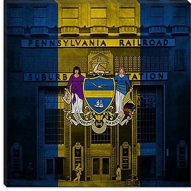 iCanvas Philadelphia Flag, Grunge Subway Square Graphic Art on Canvas; 12'' H x 12'' W x 0.75'' D
