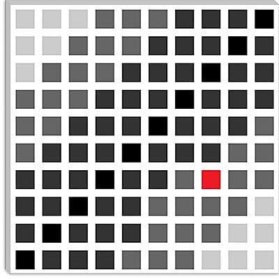 iCanvas Modern Tile Cuadrados Opt en Gris Graphic Art on Canvas; 18'' H x 18'' W x 1.5'' D