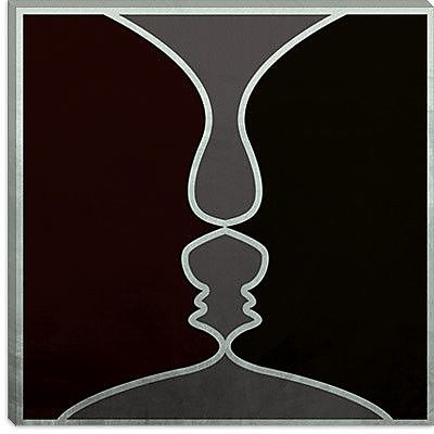 iCanvas Modern Face to Face Graphic Art on Canvas; 18'' H x 18'' W x 1.5'' D