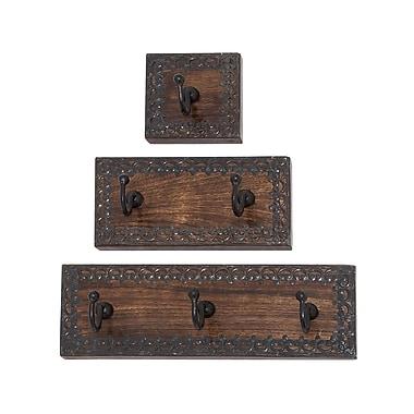 Woodland Imports 3 Piece Wood and Metal Coat Rack Set