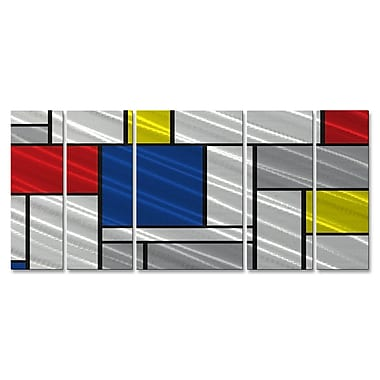 All My Walls 'Metallic Mondrian II' by Ash Carl 5 Piece Graphic Art Plaque Set