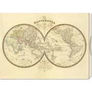 Global Gallery 'Mappemonde, 1849' by J. Andriveau-Goujon Graphic Art on Wrapped Canvas