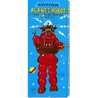 Global Gallery 'Action Planet Robot' by Retrobot Vintage Advertisement on Wrapped Canvas