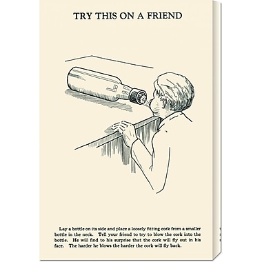 Global Gallery 'Try This on a Friend - Corked' by Retromagic Vintage Advertisement on Wrapped Canvas