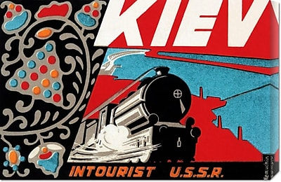 Global Gallery 'Kiev - Intourist U.S.S.R.' by Retro Travel Vintage Advertisement on Wrapped Canvas