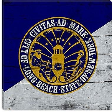 iCanvas Long Beach Flag, Planks Graphic Art on Canvas; 26'' H x 26'' W x 1.5'' D