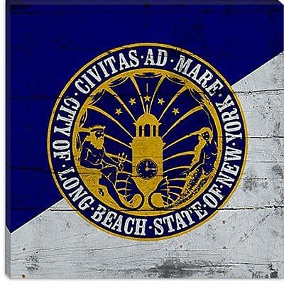 iCanvas Long Beach Flag, Planks Graphic Art on Canvas; 12'' H x 12'' W x 1.5'' D