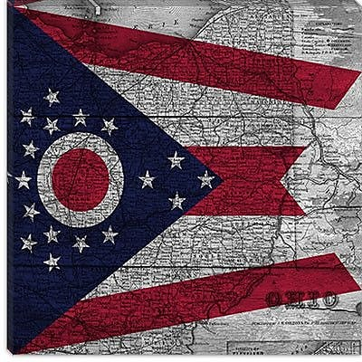 iCanvas Flags Ohio Graphic Art on Canvas; 12'' H x 12'' W x 1.5'' D