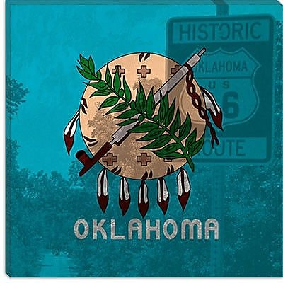 iCanvas Flags Oklahoma Route 66 Graphic Art on Canvas; 26'' H x 26'' W x 0.75'' D