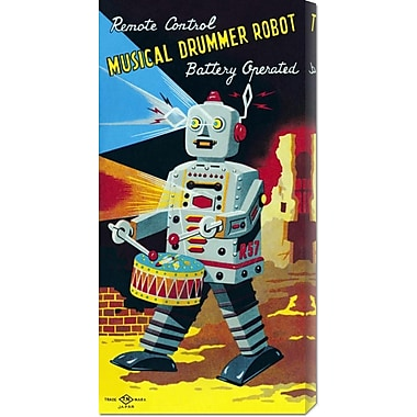 Global Gallery 'Musical Drummer Robot' by Retrobot Vintage Advertisement on Wrapped Canvas
