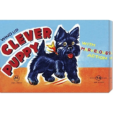 Global Gallery 'Wind Up Clever Puppy' by Retrobot Vintage Advertisement on Wrapped Canvas